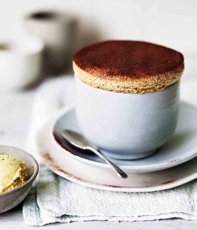 **Milk chocolate and date soufflés with caramelised walnut ice-cream**
