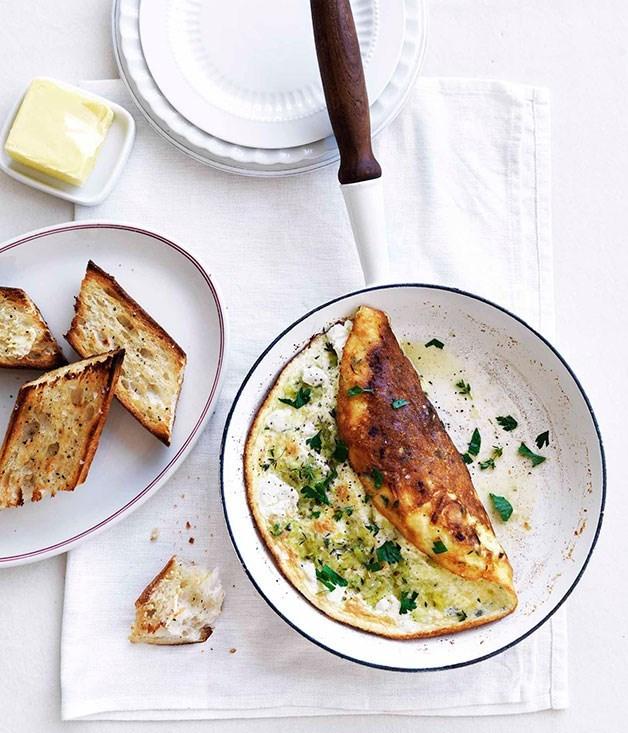**Leek and chèvre soufflé omelette**