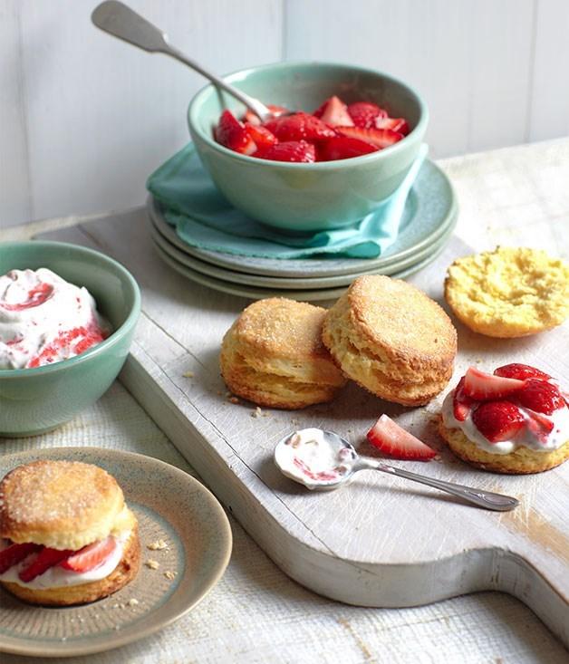 "[**Strawberry shortcake**](https://www.gourmettraveller.com.au/recipes/browse-all/strawberry-shortcake-with-elderflower-cream-8723|target=""_blank"")"