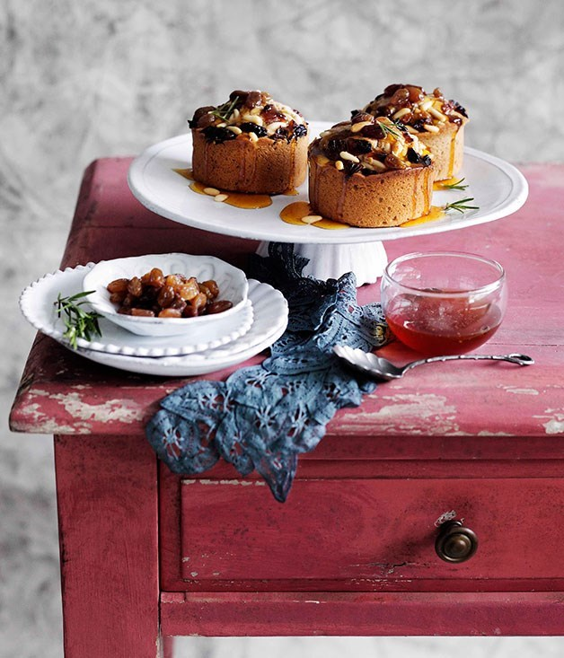 "[**Chestnut cakes with raisins, pine nuts and honey**](https://www.gourmettraveller.com.au/recipes/browse-all/chestnut-cakes-with-raisins-pine-nuts-and-honey-10790|target=""_blank"")"
