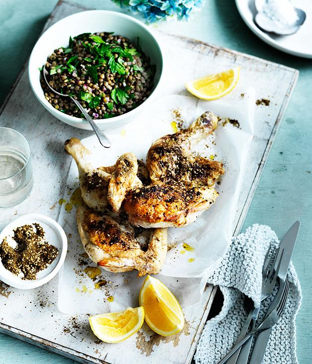 """[Za'atar chicken with lentils](http://www.gourmettraveller.com.au/recipes/fast-recipes/zaatar-chicken-with-lentils-13585 target=""""_blank"""")"""