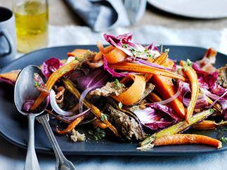 Warm roast carrot and parsnip salad with rye croûtons