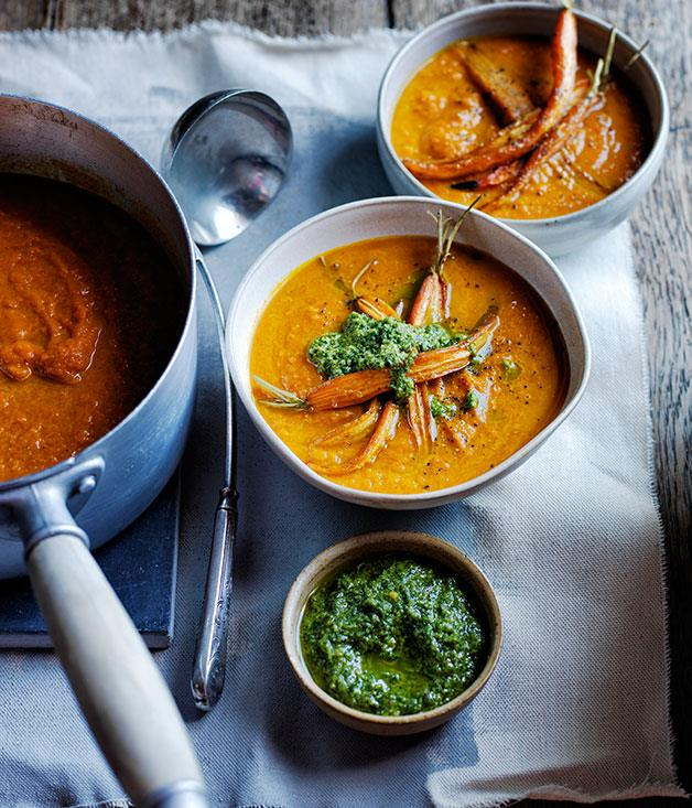 "[Roast carrot soup with carrot-top pesto](http://www.gourmettraveller.com.au/recipes/browse-all/roast-carrot-soup-with-carrot-top-pesto-12226|target=""_blank"")"