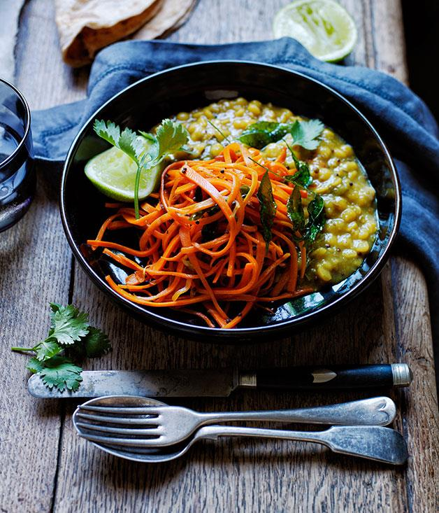 "[Yellow split pea and carrot dhal](http://www.gourmettraveller.com.au/recipes/browse-all/yellow-split-pea-and-carrot-dhal-12228|target=""_blank"")"