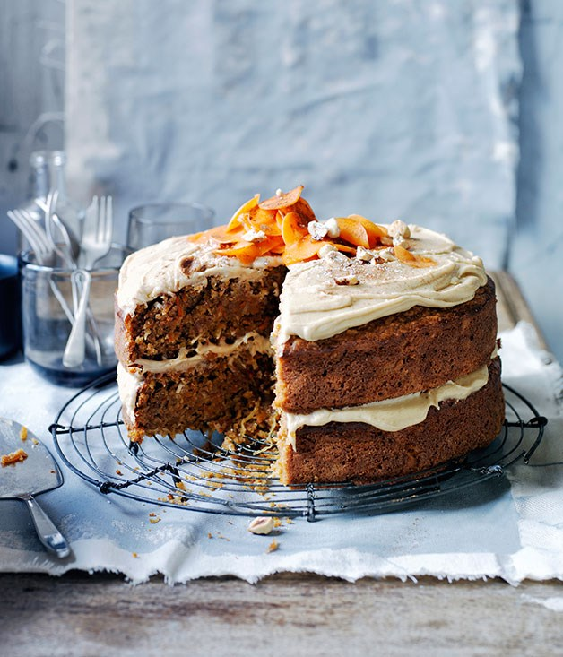**GINGER-CARROT CAKE WITH SALTED BUTTERSCOTCH FROSTING**