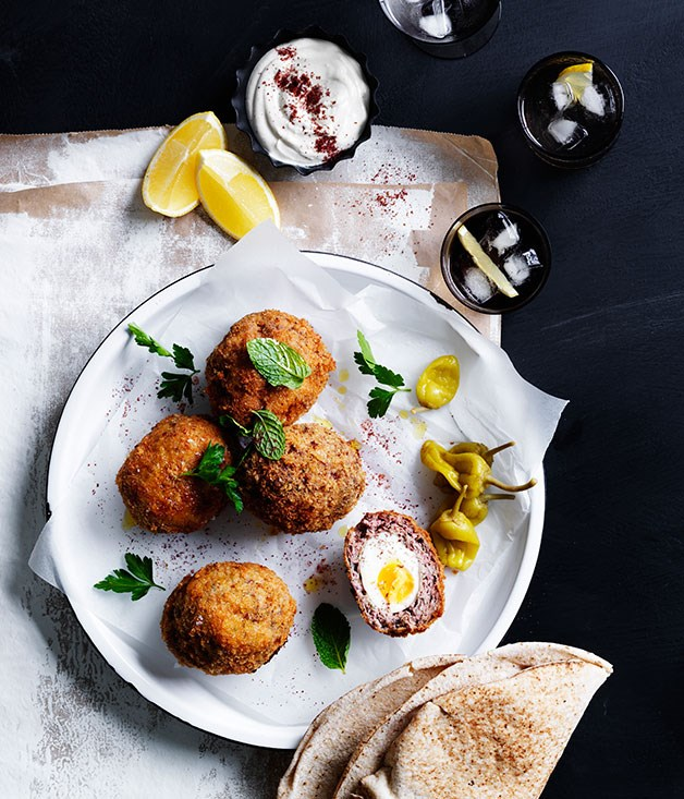 Middle Eastern Scotch eggs with tahini yoghurt