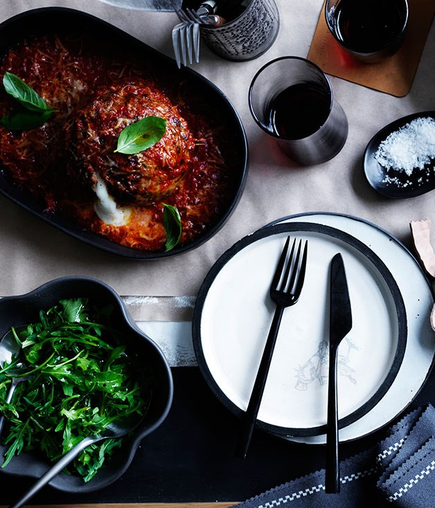 Giant meatballs stuffed with mozzarella
