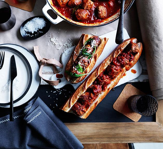 Baked pork and veal meatball sub