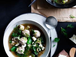 Tiny chicken meatball and orzo soup with silverbeet and feta