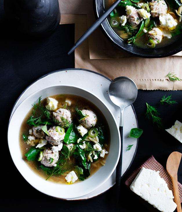 "**[Tiny chicken meatball and orzo soup with silverbeet and feta](https://www.gourmettraveller.com.au/recipes/browse-all/tiny-chicken-meatball-and-orzo-soup-with-silverbeet-and-feta-12234|target=""_blank"")**"
