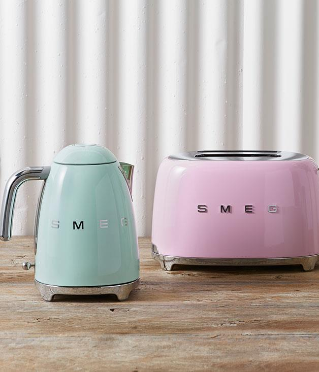 """**Smeg Kettle** This '50s-inspired cordless kettle is the latest addition to[Smeg's](http://www.smeg.com.au/aesthetic-line/50s-retro-style/ """"Smeg"""")collection of retro appliances. The promise of a cup of tea at mum's place just got a whole lot sassier._$199_"""