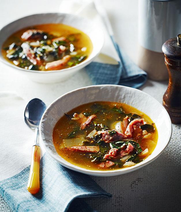 "[Ham hock soup](http://www.gourmettraveller.com.au/recipes/chefs-recipes/ham-hock-soup-8247|target=""_blank"")"