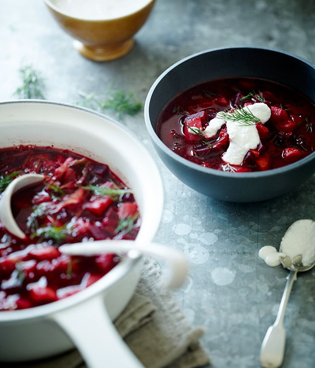 Beetroot soup with soured macadamia cream and dill