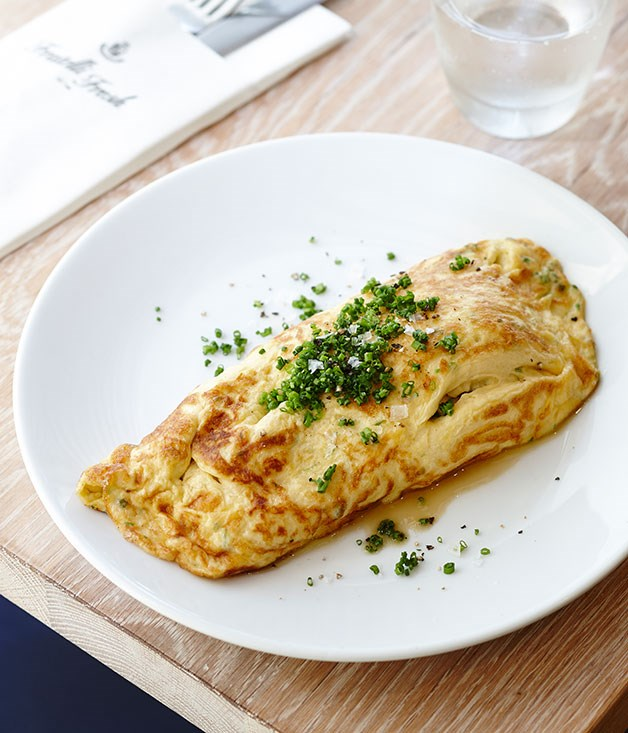 Omelette of meli melo and caramelised onion