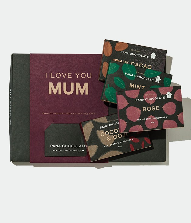 "**Pana Chocolate 'I Love You Mum' Gift Pack** This Mother's Day gift pack from [Pana](http://panachocolate.com ""Pana Chocolate"") features four of their raw cacao bars in one beautifully packaged box. So go on, say it with chocolate. _$29.90_"