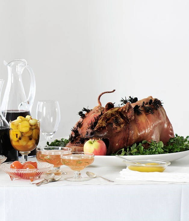 **Roast suckling pig with walnut and apple stuffing**