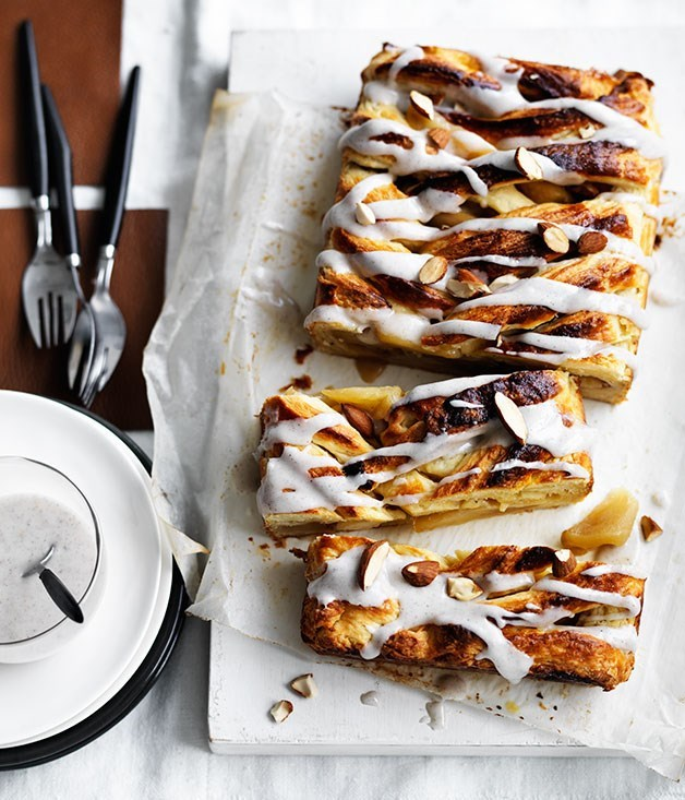 **Caramelised apple Danish with cardamom icing**
