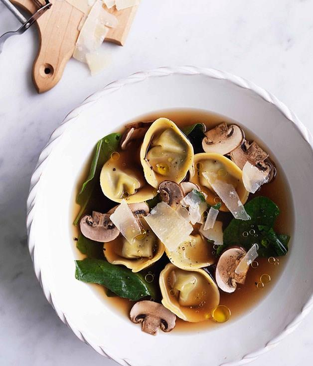 """[Chicken brodo with mushroom and mascarpone tortellini](https://www.gourmettraveller.com.au/recipes/browse-all/chicken-brodo-with-mushroom-and-mascarpone-tortellini-10756