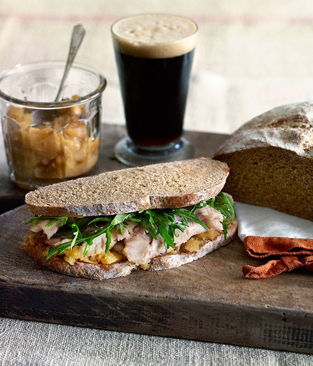 **Roast pork and crushed apple sandwich on stout loaf**