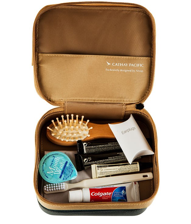 **Cathay Pacific Amenity Kits** Products from Australia's unstoppable Aesop now grace the new amenity kits in Cathay Pacific's first-class cabins. Better still, the cases of the women's kits connect together, giving them more utility beyond the flight.