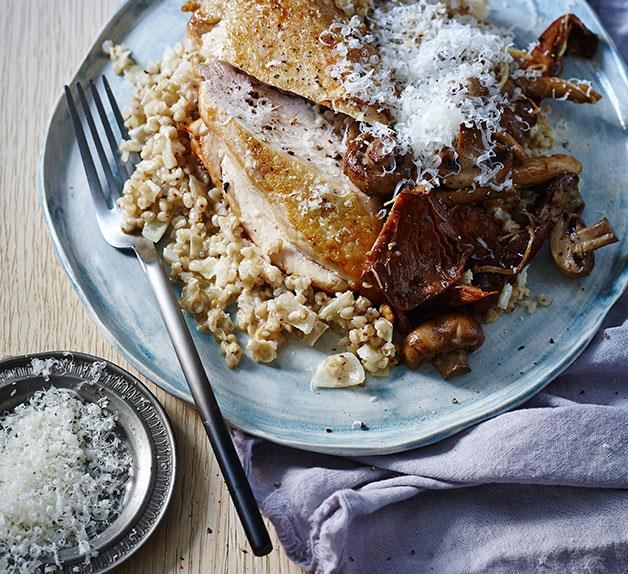 Chicken with buckwheat and mushroom risotto