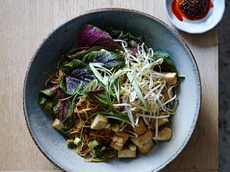 Chow mein noodles with tofu, Chinese bacon and ginger
