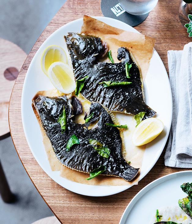 "**[David Moyle's flounder with cultured butter and lemon leaves](https://www.gourmettraveller.com.au/recipes/chefs-recipes/flounder-with-cultured-butter-and-lemon-leaves-8255|target=""_blank"")**"