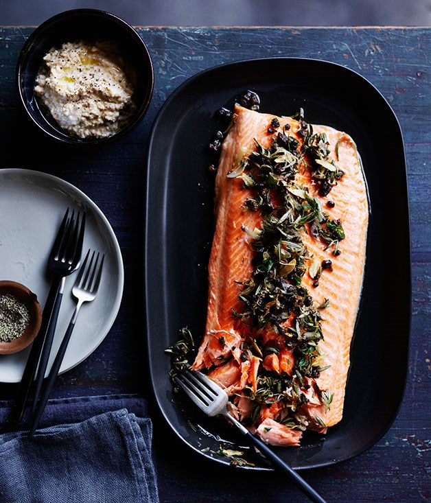 Roast trout with almond sauce, rosemary and capers