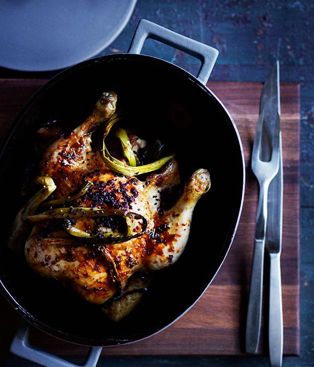 "**[Chinese-style roast chicken](https://www.gourmettraveller.com.au/recipes/browse-all/chinese-style-roast-chicken-12243|target=""_blank"")**"
