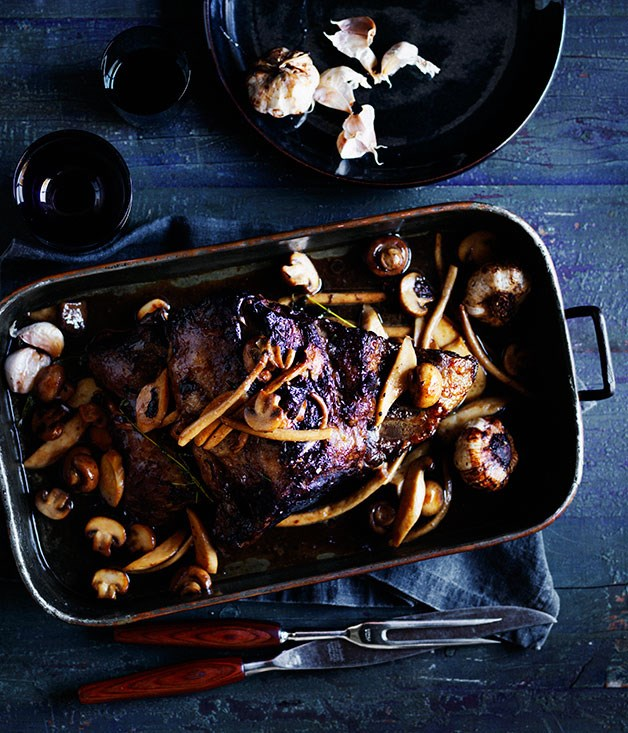 Beef brisket with Sherry-glazed mushrooms