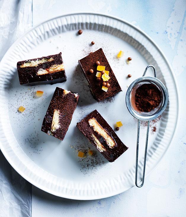 "**[Chocolate-orange truffle slice](https://www.gourmettraveller.com.au/recipes/browse-all/chocolate-orange-truffle-slice-13993|target=""_blank""|rel=""nofollow"")**"