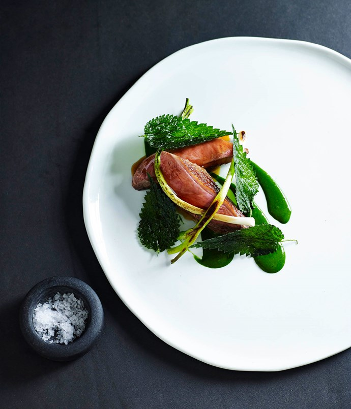 Slow-cooked duck breast with leeks and nettle sauce