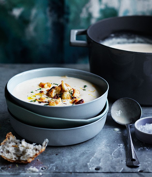 Roast garlic, cheddar and ale soup with fried cauliflower