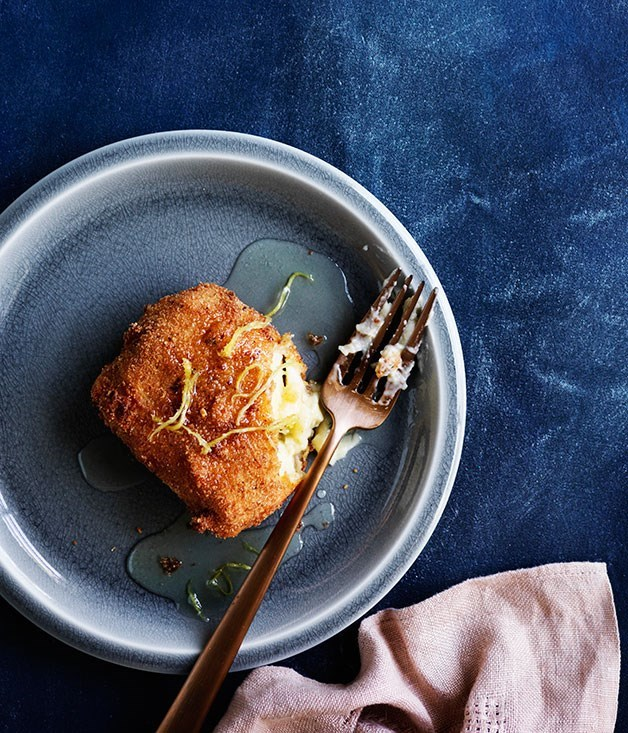 "[**Fried custard squares with ginger syrup**](https://www.gourmettraveller.com.au/recipes/browse-all/fried-custard-squares-with-ginger-syrup-12236|target=""_blank"")"