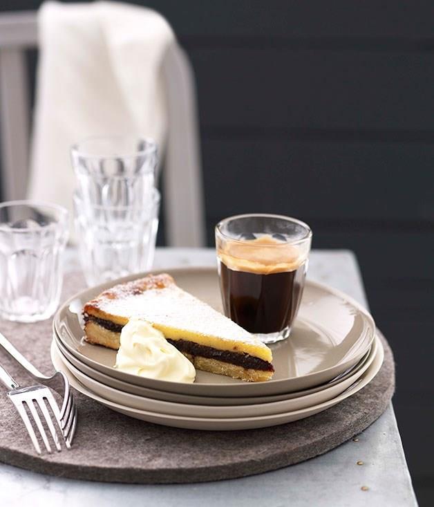 "[**Baked custard and prune tart**](https://www.gourmettraveller.com.au/recipes/chefs-recipes/baked-custard-and-prune-tart-8885 target=""_blank"")"