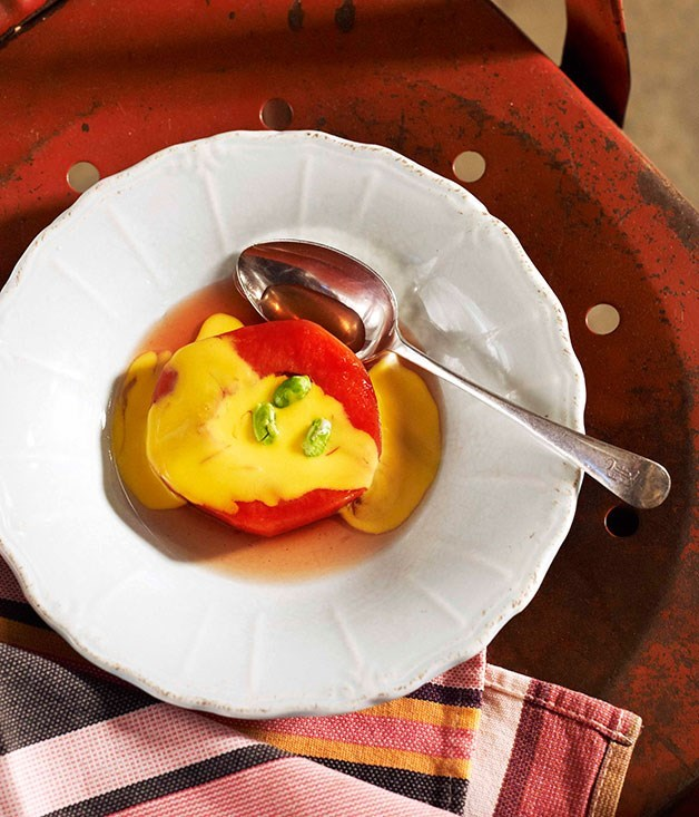"[**Slow-baked quince with saffron custard**](https://www.gourmettraveller.com.au/recipes/chefs-recipes/slow-baked-quince-with-saffron-custard-7708|target=""_blank"")"