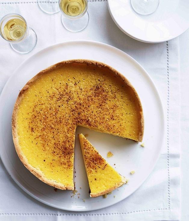 "[**Custard tart**](https://www.gourmettraveller.com.au/recipes/chefs-recipes/custard-tart-7828|target=""_blank"")"