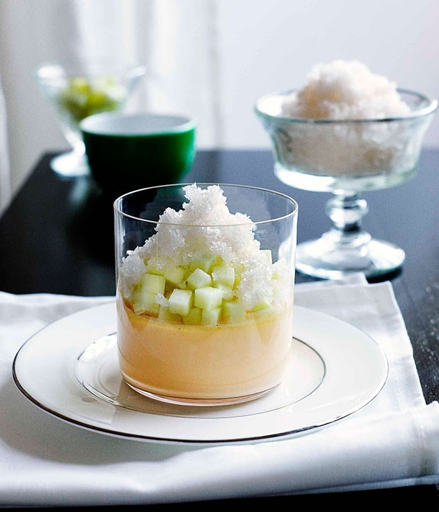 "[**Vanilla custard with ginger granita and Granny Smith apple**](https://www.gourmettraveller.com.au/recipes/chefs-recipes/vanilla-custard-with-ginger-granita-and-granny-smith-apple-7535|target=""_blank"")"