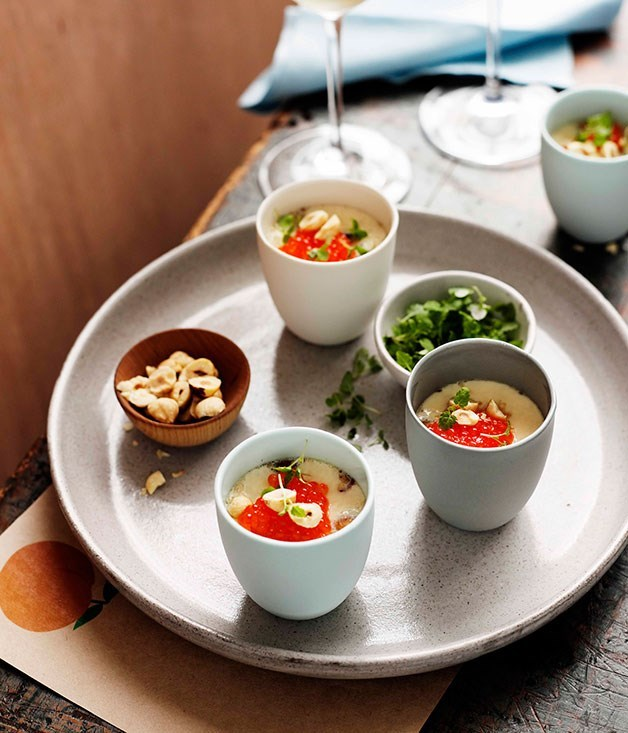 "[**Egg custards with hazelnuts, trout roe and lemon balm**](https://www.gourmettraveller.com.au/recipes/browse-all/egg-custards-with-hazelnuts-trout-roe-and-lemon-balm-10932|target=""_blank"")"