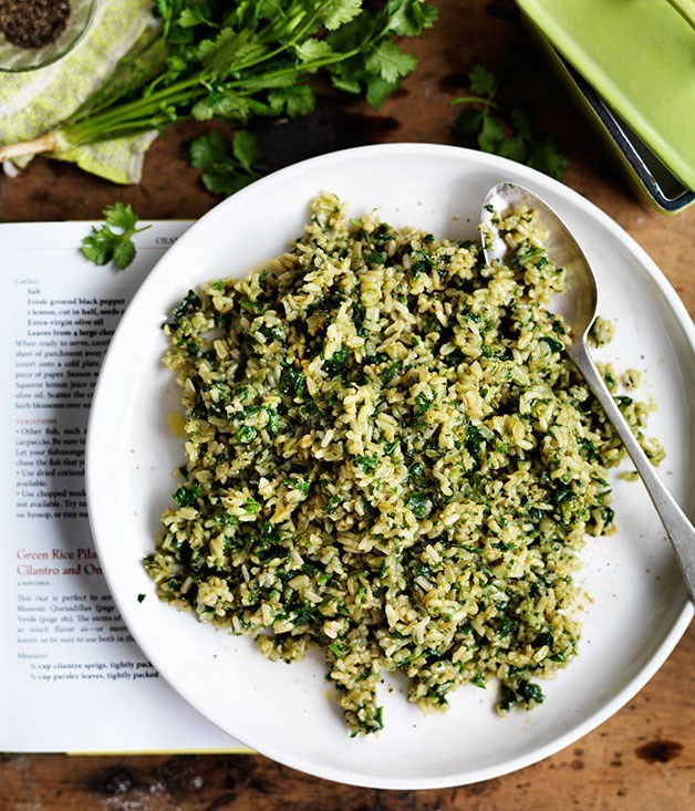 **Green rice pilaf with coriander and onions**