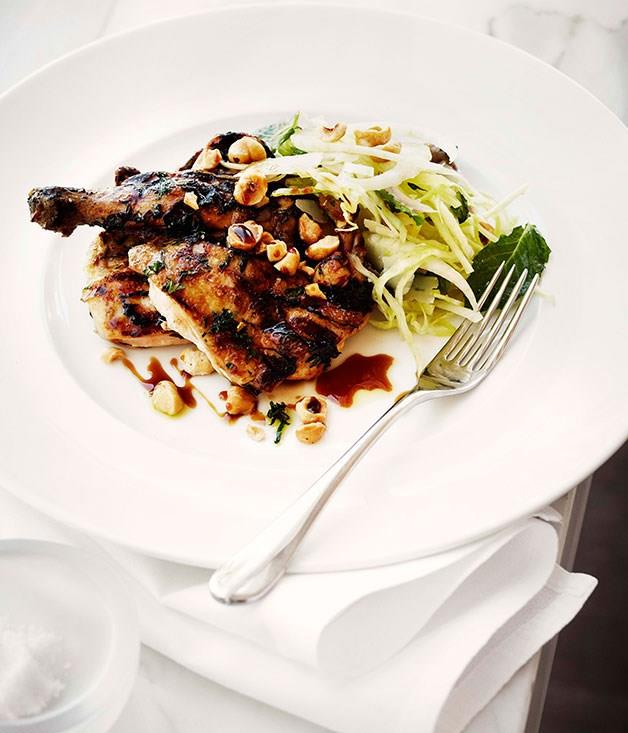 **Grilled spatchcock with pear and cabbage salad, hazelnuts and sherry**
