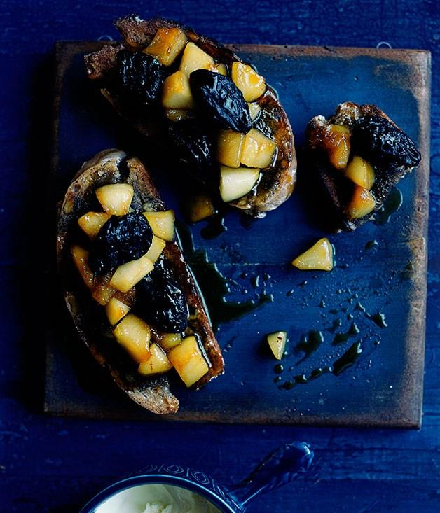 **Baked pear and walnut tartines with frontignac, prunes and clotted cream**