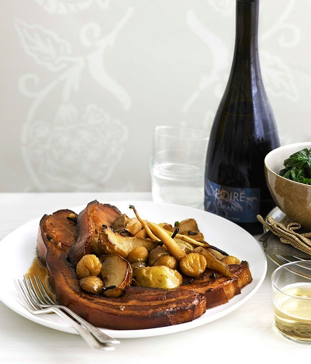 **Perry-braised bacon with pears, parsnips and chestnuts**