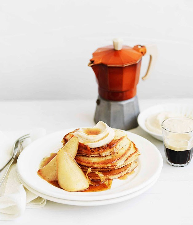 **Pancakes with maple-syrup pears and spiced ricotta**