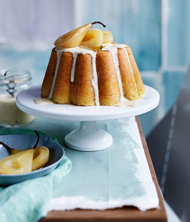 **Steamed vanilla pudding with pears and vanilla crème anglaise**