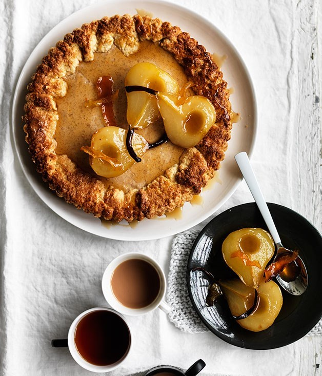 **Ricotta, almond and chocolate tarts with poached pears**