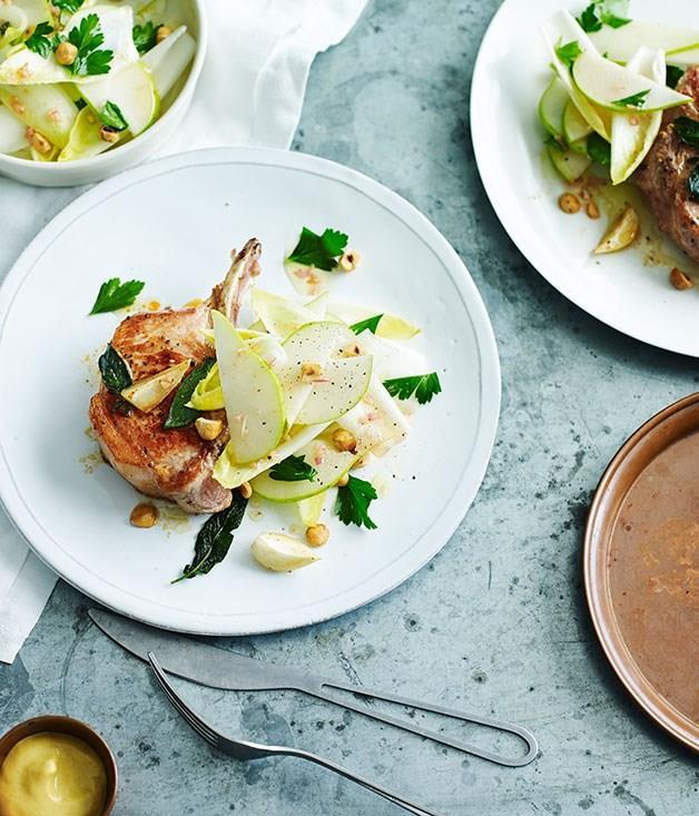 **Roast pork cutlets with pear, witlof and hazelnut salad**