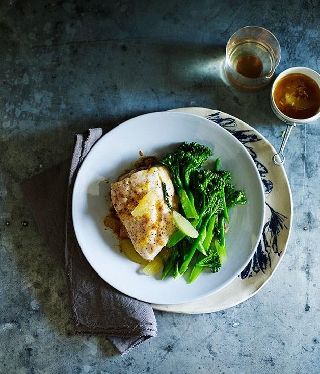 **Roast fish with broccolini, lemon and burnt butter**