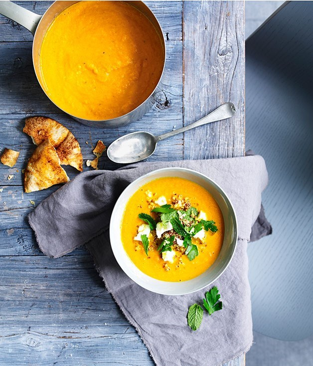 **Carrot soup with feta and quinoa**