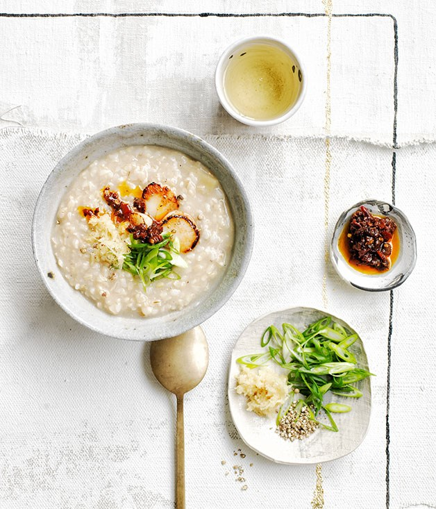 **Brown rice congee with ginger and chilli-black bean sauce**